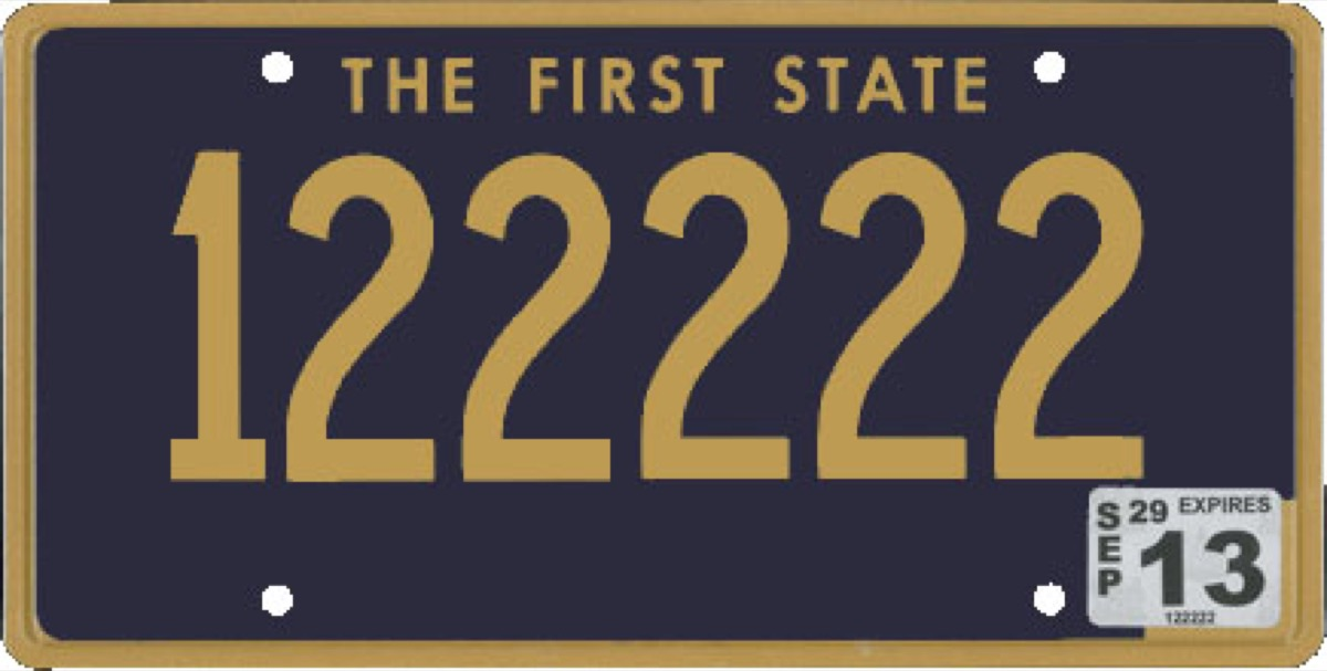 delaware license plate photoshopped