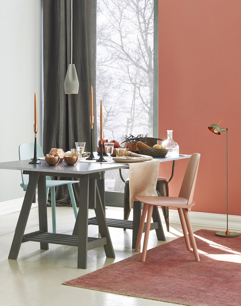 A Dining Room with a Copper Red Accent Wall Worst Paint Colors