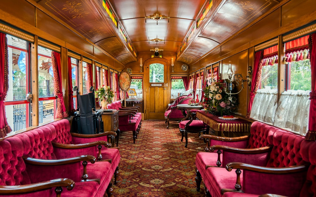 the interior of the lilly belle car in disneyland