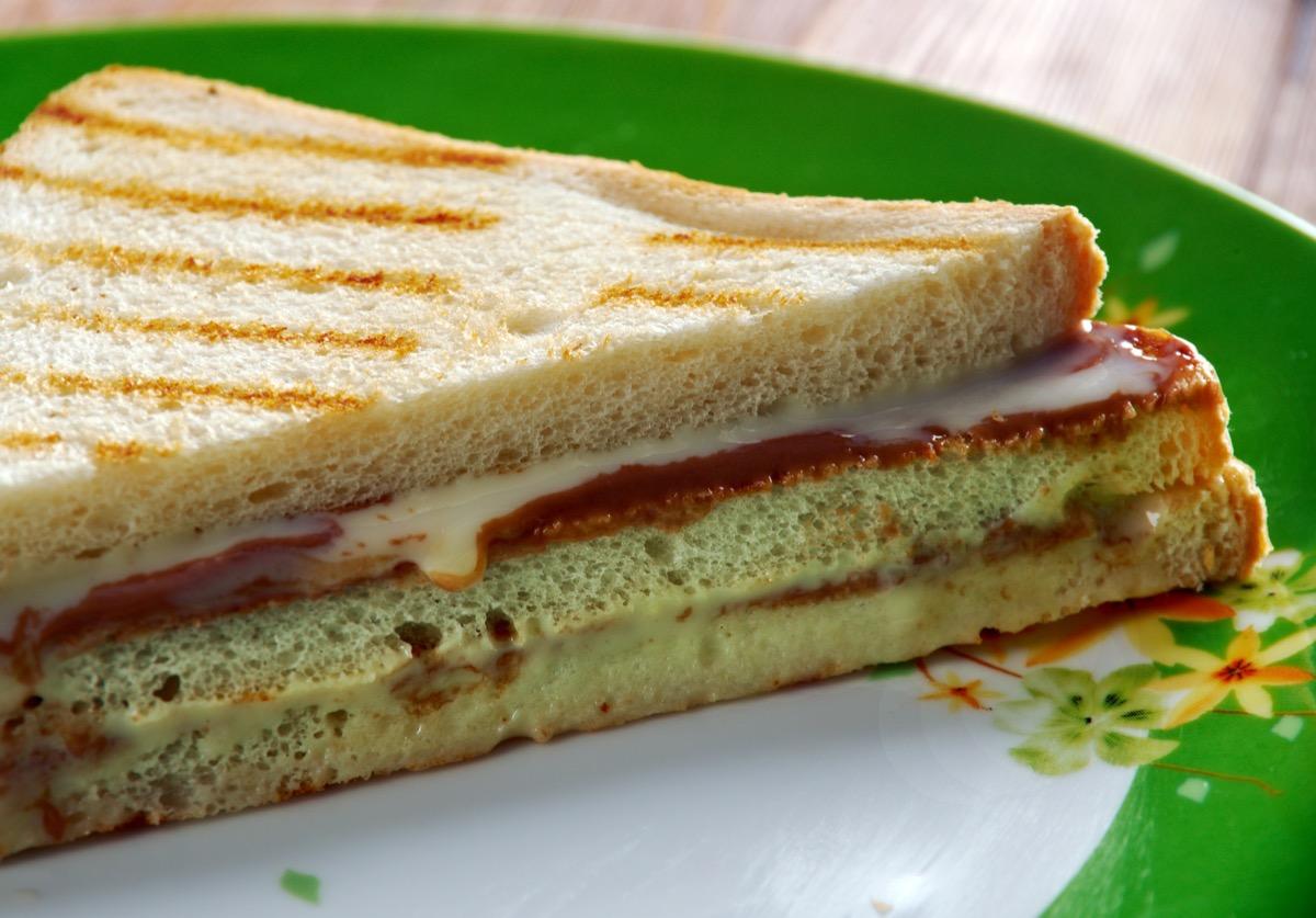 Fluffernutter peanut butter and marshmallow sandwich