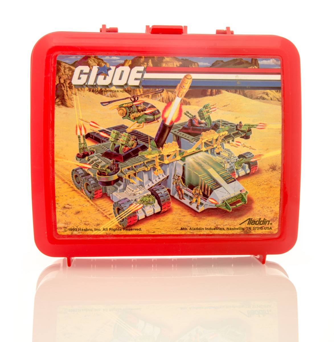 Winneconne, WI - 6 April 2016: Plastic lunch box featuring G.I. Joe on an isolated background. - Image