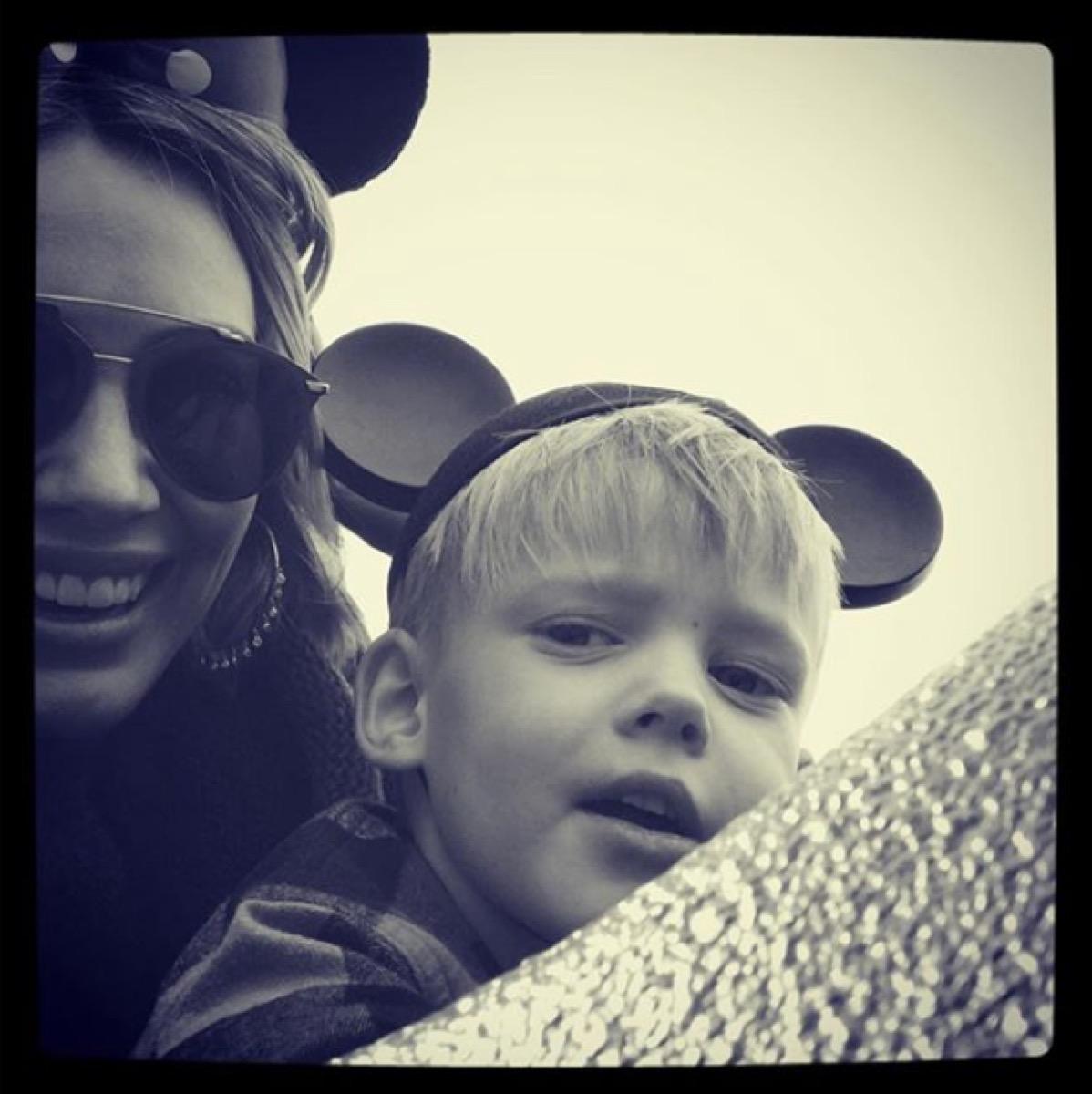 hilary duff at disneyland with son wearing mickey ears, disney celebs
