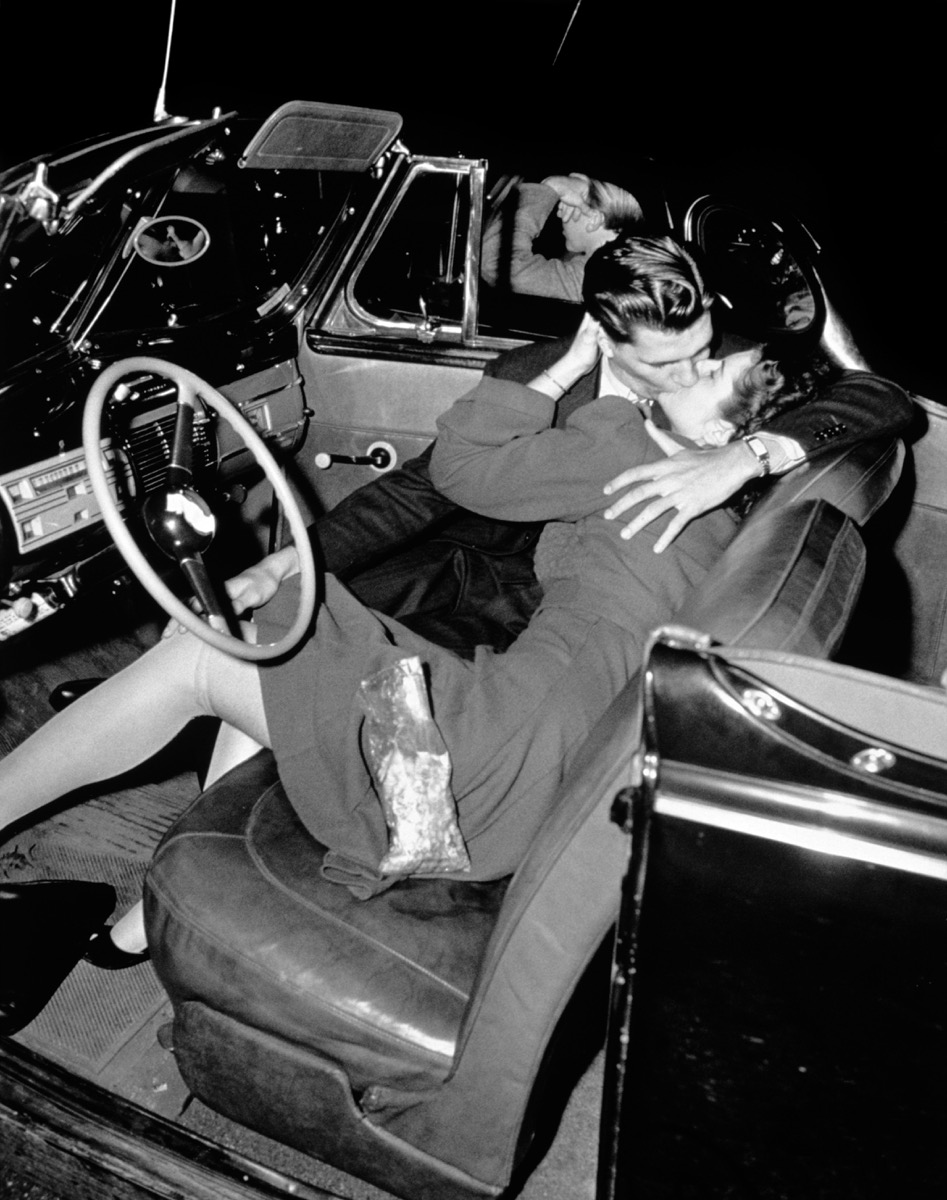Couple Kissing in their Car at a Drive-In in the 1950s {Dating 50 Years Ago}
