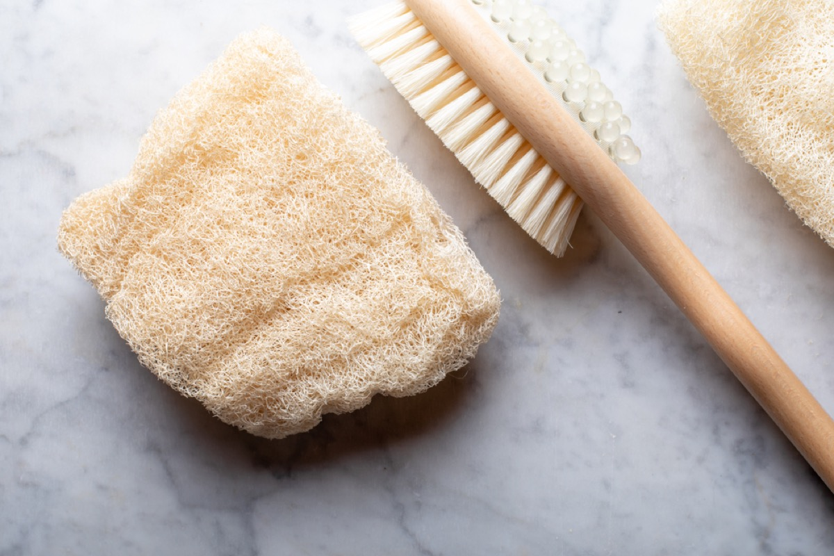 loofah and bath brush, things you should clean every day