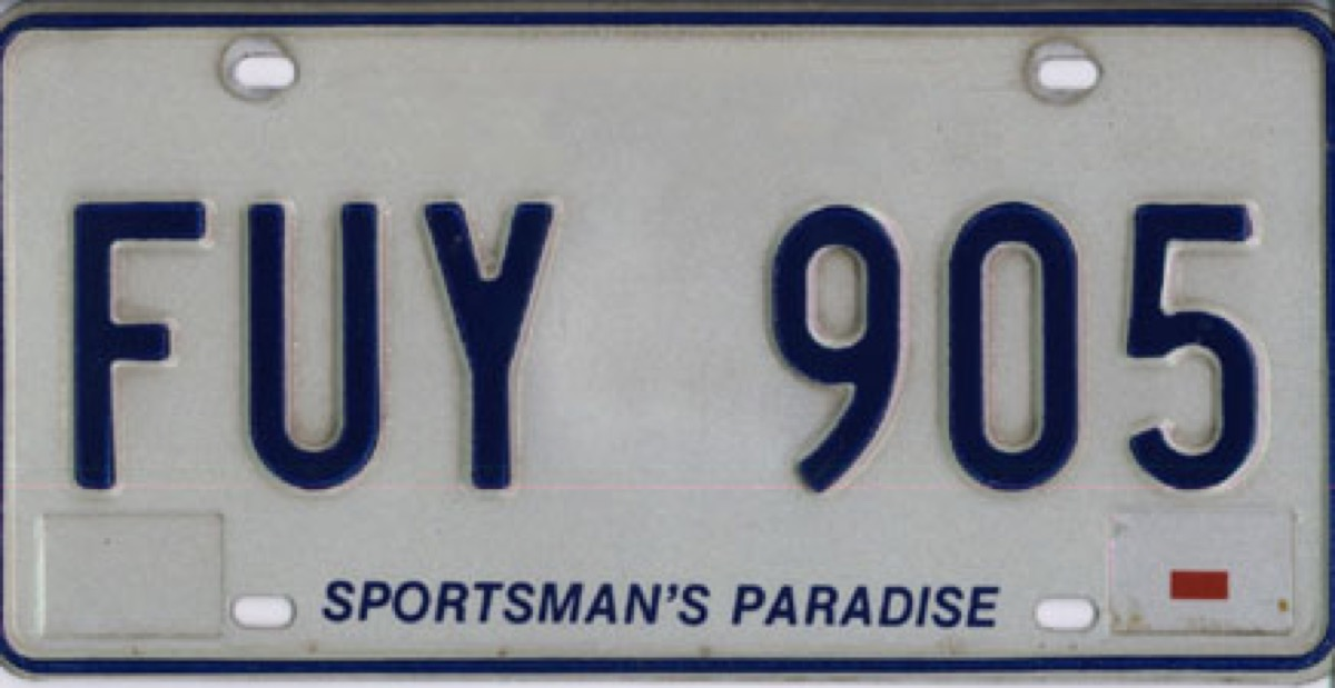 Louisiana license plate photoshopped