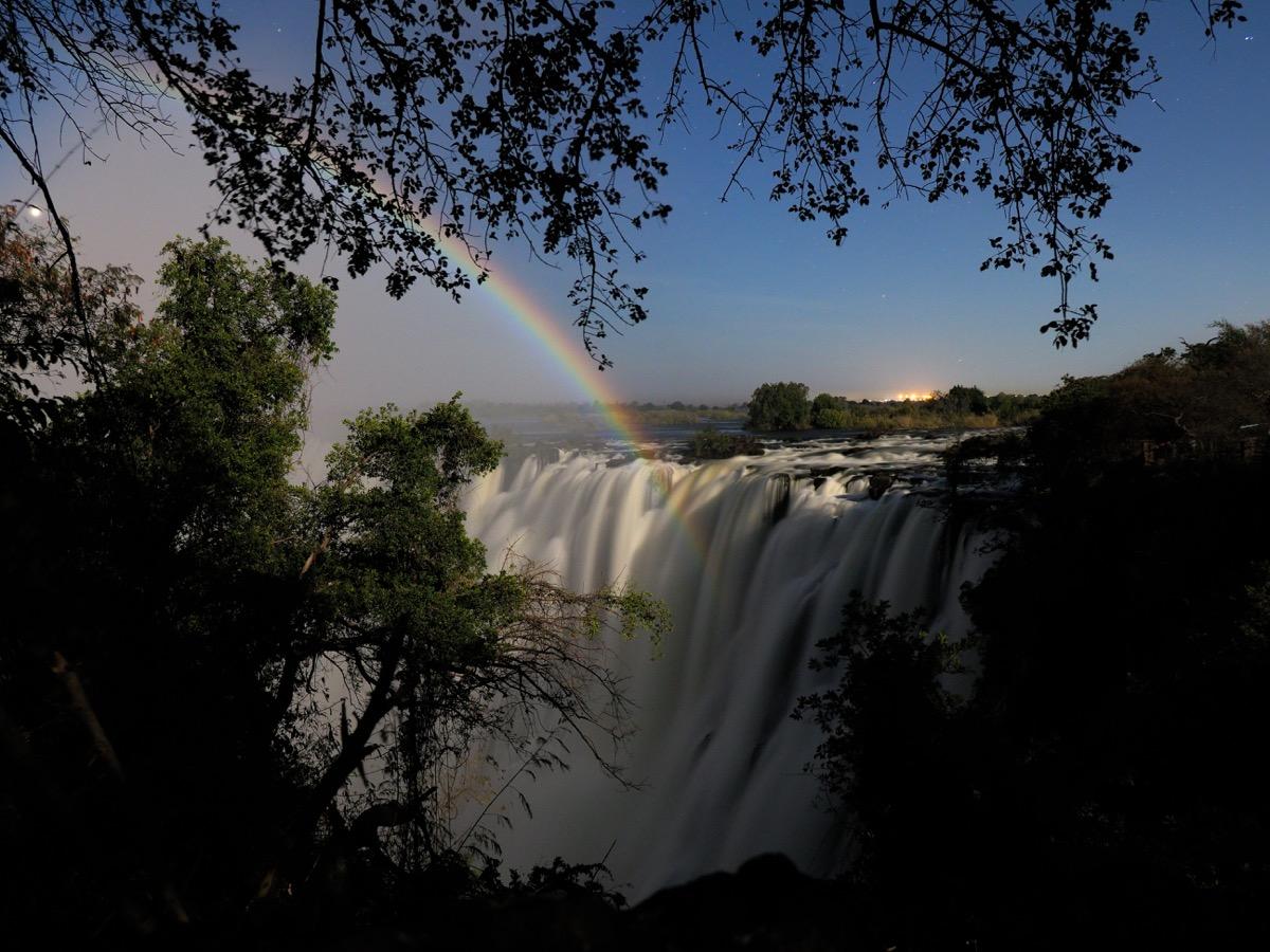 lunar rainbow over victoria falls in zambia