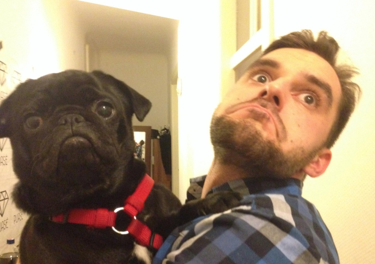 man and pug strike the same pose dogs who look like their owners