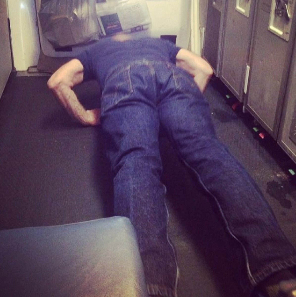 Man does pushups during flight photos of terrible airplane passengers