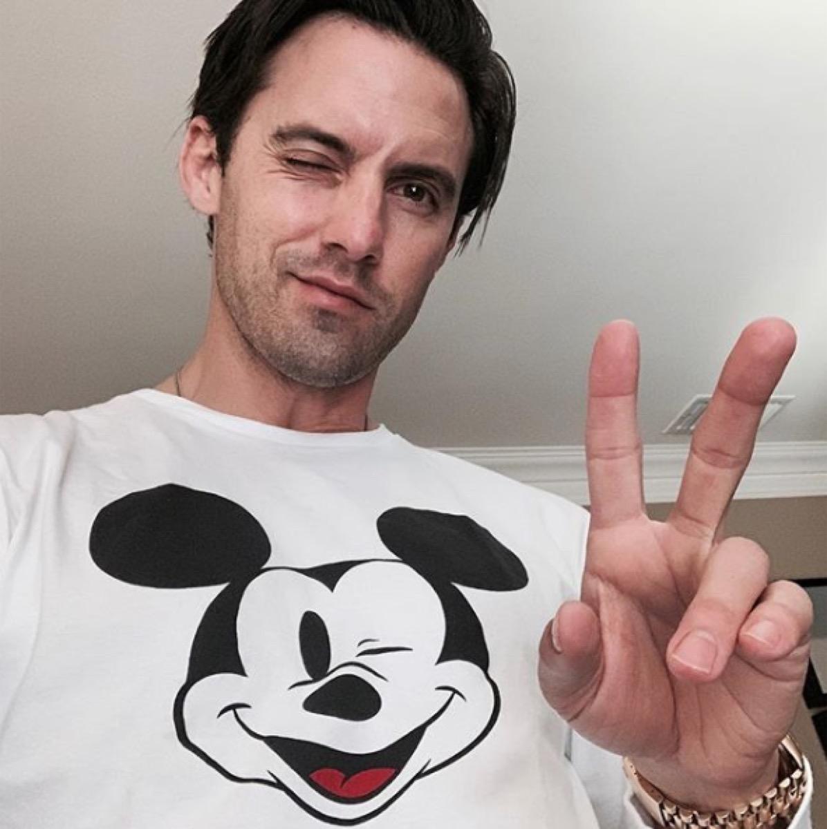 milo ventimiglia wearing a mickey mouse long sleeve shirt, disney celebs