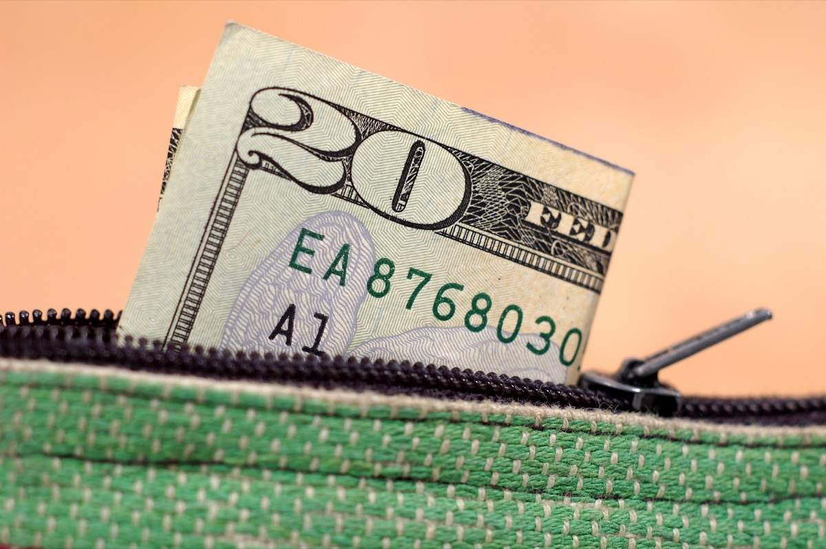 photo of a twenty dollar bill in a change purse