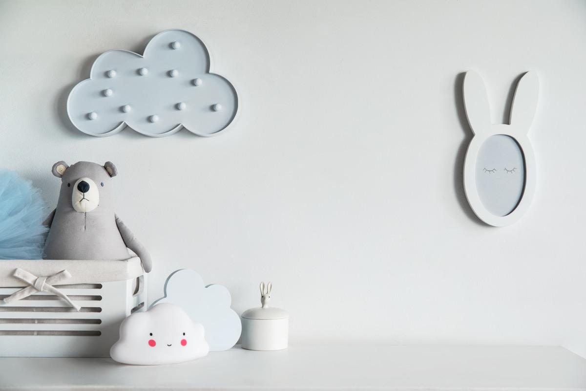 plain white and grey nursery, meghan markle