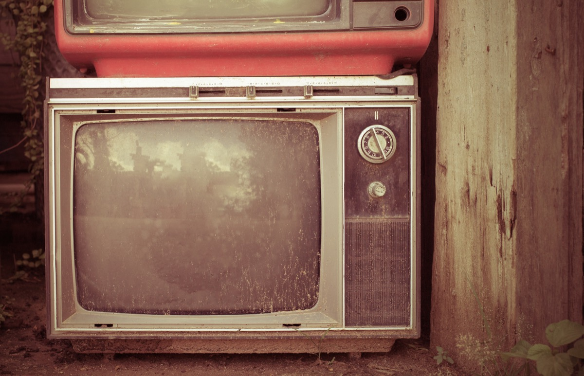 Retro style old television from 1950, 1960 and 1970s. Vintage tone instagram style filtered photo - Image