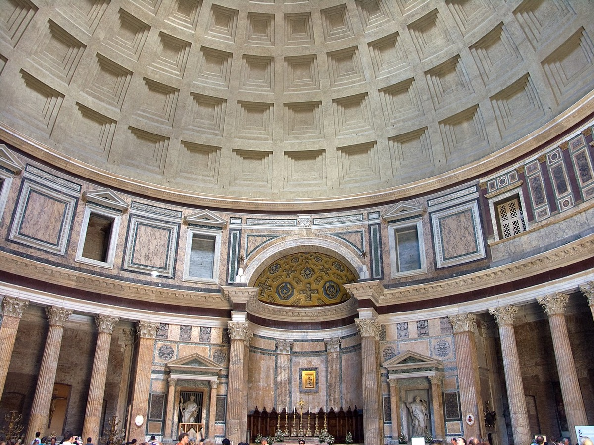 pantheon building in rome an example of roman concrete construction called opus caementicium, ancient rome facts