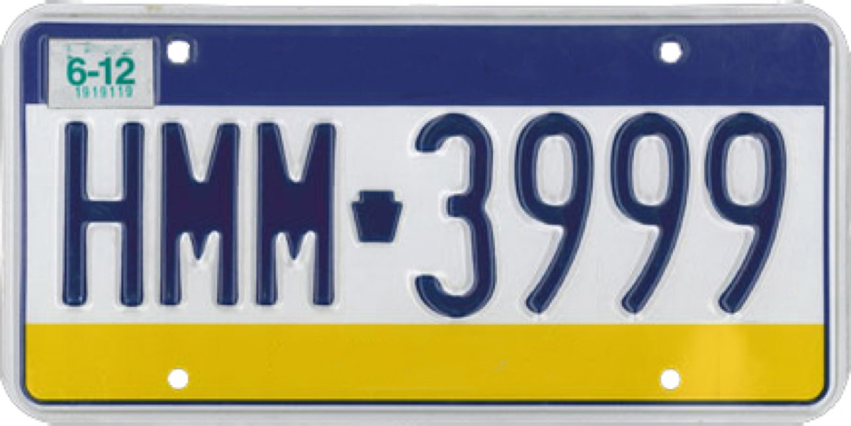 pennsylvania license plate photoshopped