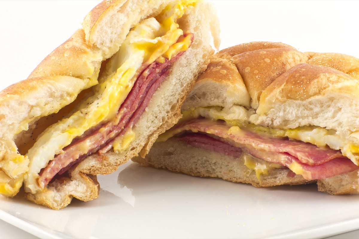 Taylor ham, pork roll, egg and cheese breakfast sandwich on a kaiser roll with salt pepper and ketchup, from New Jersey - Image