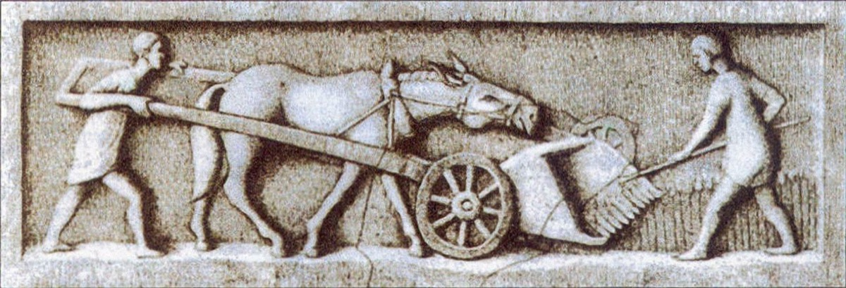 a gallic-roman harvester picture, ancient rome facts