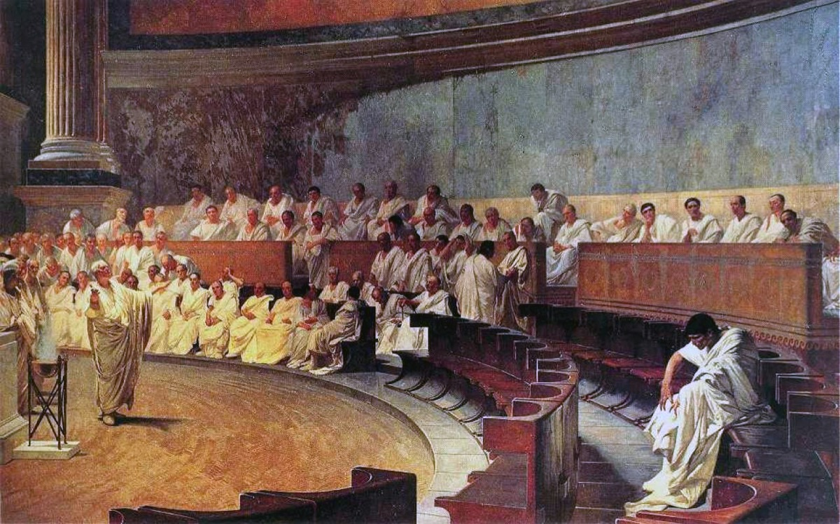 depicting ancient roman senate with cicero and catiline, ancient rome facts