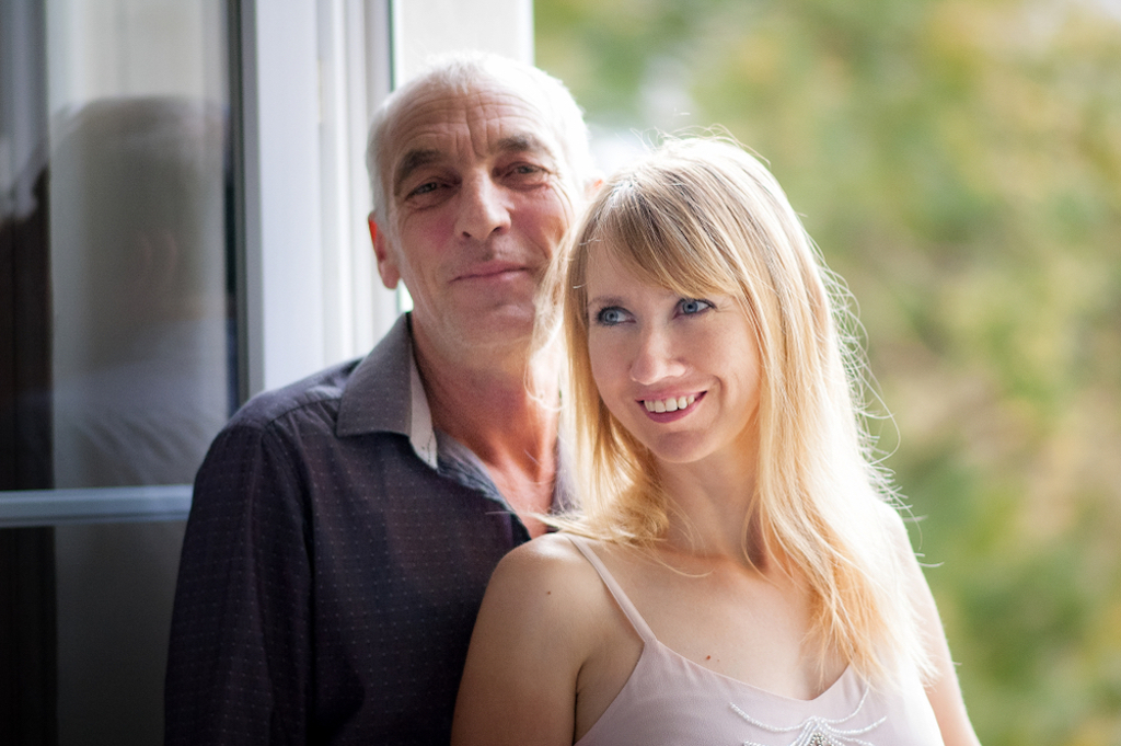 young woman is happy with her old husband relationships with big age difference