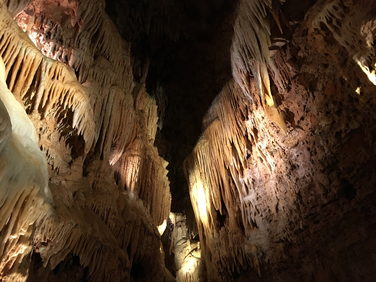 view of the bridal cave from below at night, state fact about missouri