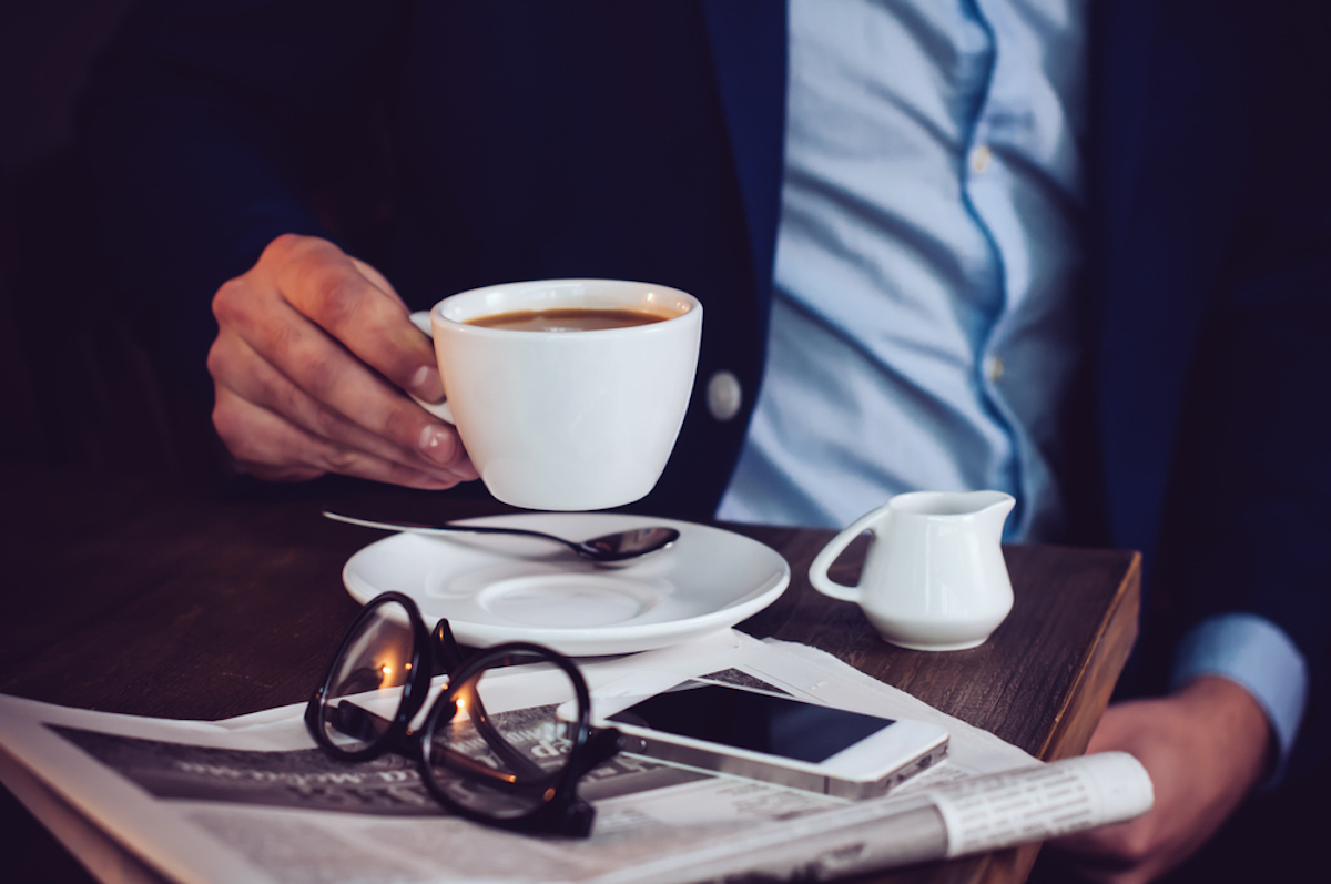 businessman drinking coffee, office etiquette