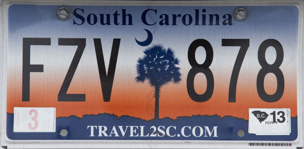 south carolina license plate