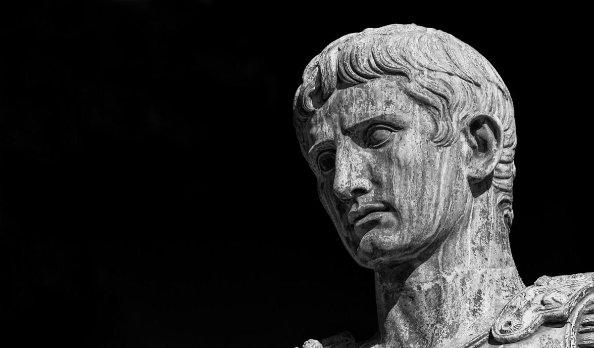 statue head of ancient rome's first emperor, caesar augustus, ancient rome facts