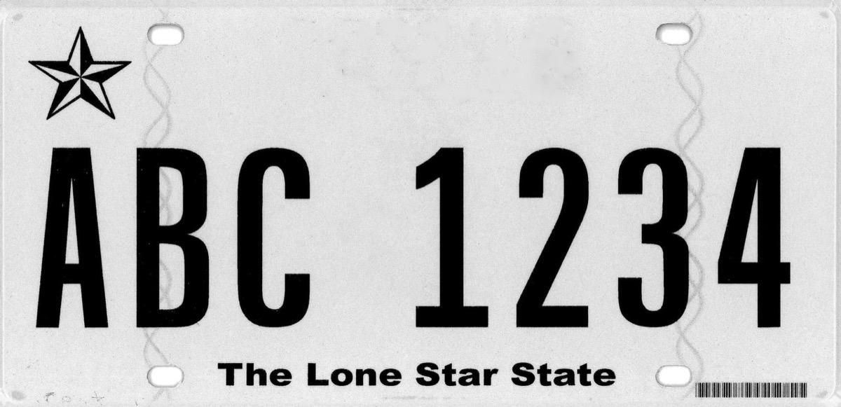 texas license plate photoshopped