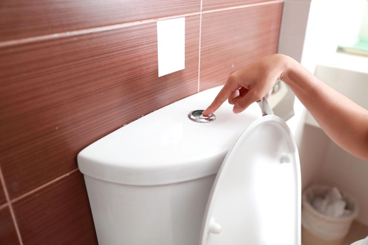 Woman flushing toilet button