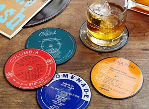 upcycled record coasters from uncommon goods, best boyfriend gifts