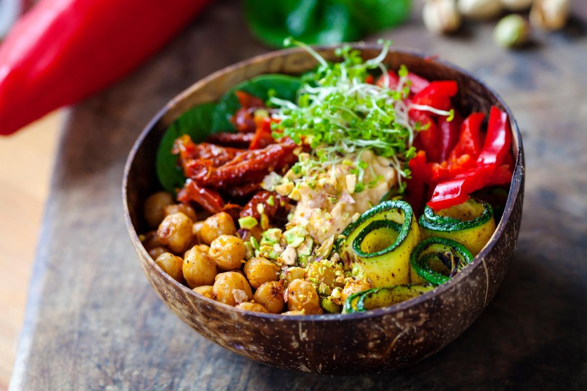 A Vegan or Vegetarian Grain Bowl with Lots of Vegetables