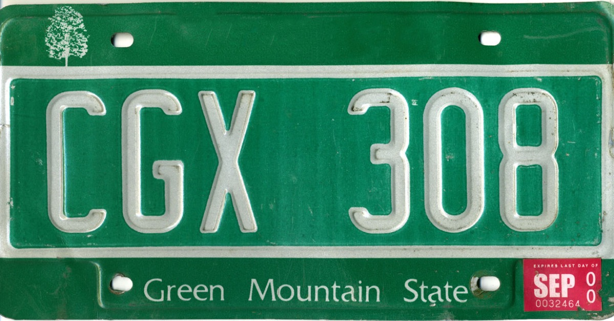 vermont license plate photoshopped