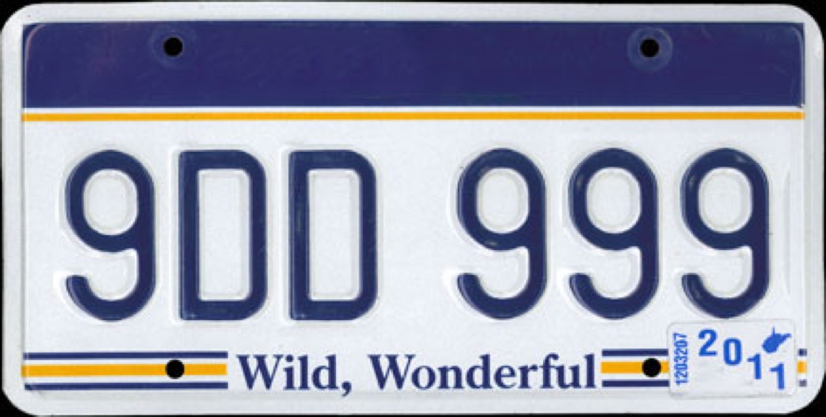 west virginia license plate photoshopped