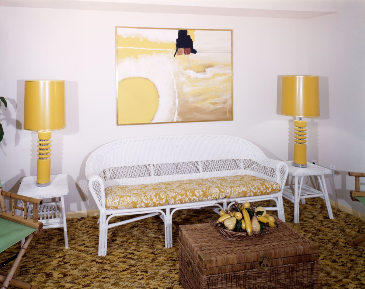Yellow Living Room with Wicker Sofa 1970s Home Decor
