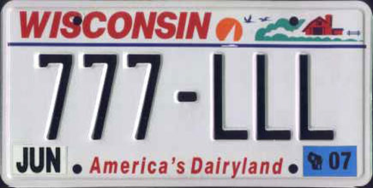 wisconsin license plate