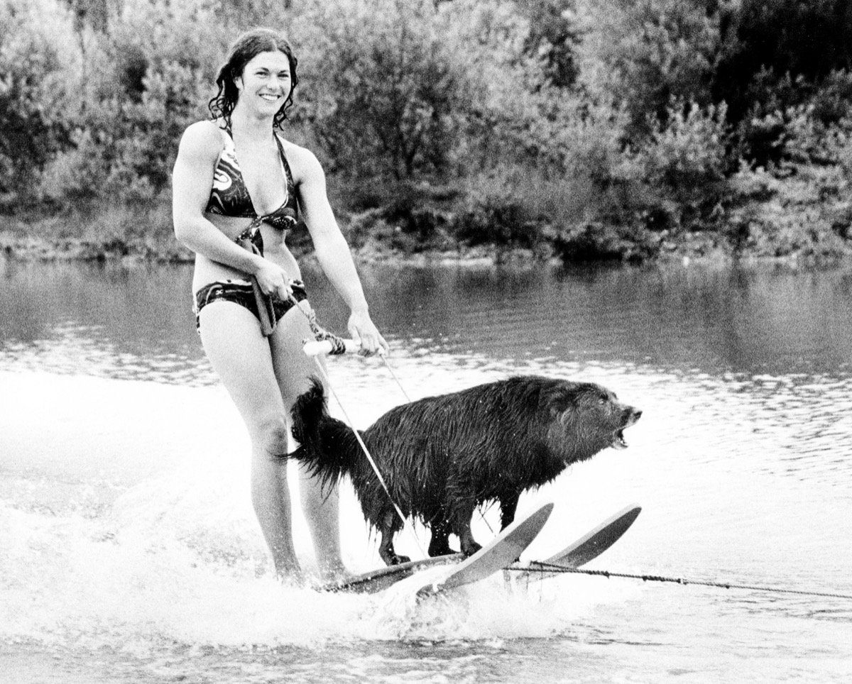 A Woman Water Skiing with her dog