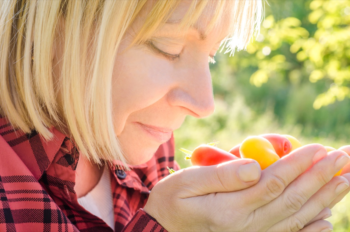 Older Woman Smelling a Handful of Tomatoes Surprising Symptoms