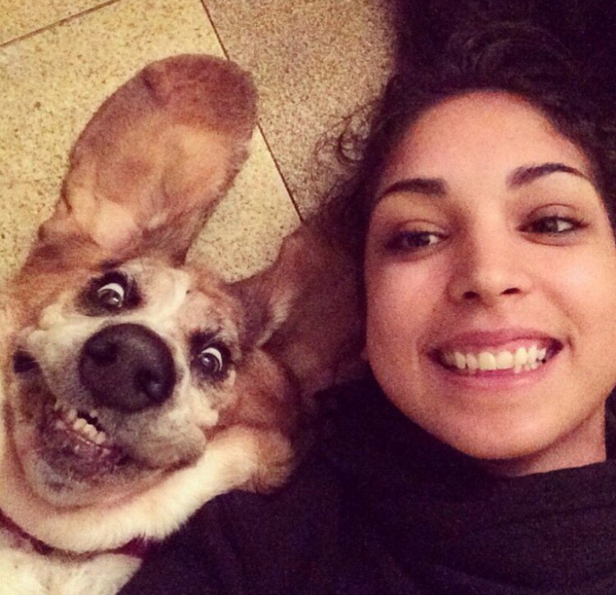woman smiles like her dog dogs who look like their owners