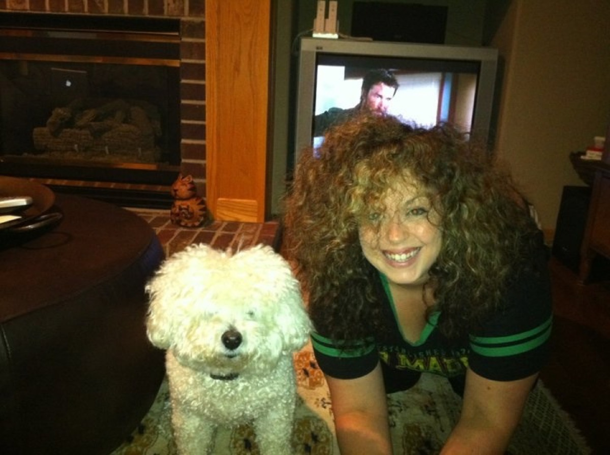 woman with same hairstyle as dog dogs who look like their owners