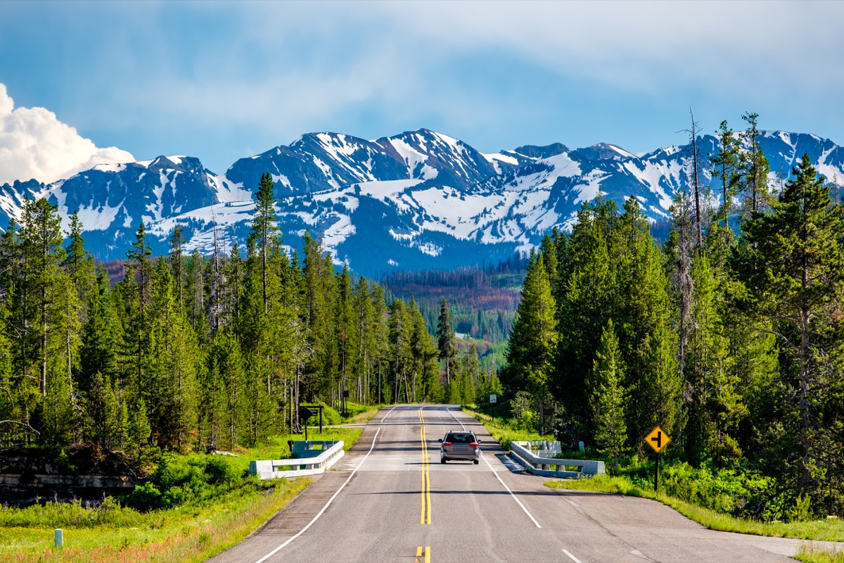 Road from Yellowstone National Park to Grand Teton National Park, Wyoming, USA - Image