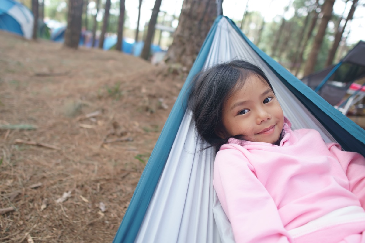 young asian child in hammock