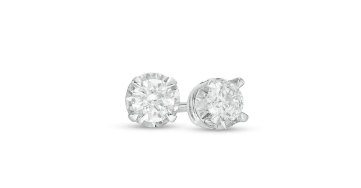 zales diamond solitaire stud earrings in sterling silver, gifts for girlfriend