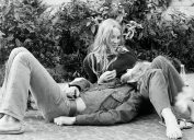 Seventies, black and white photo, people, young couple lies on the ground, tenderly, aged 18 to 25 years, Netherlands, Amsterdam