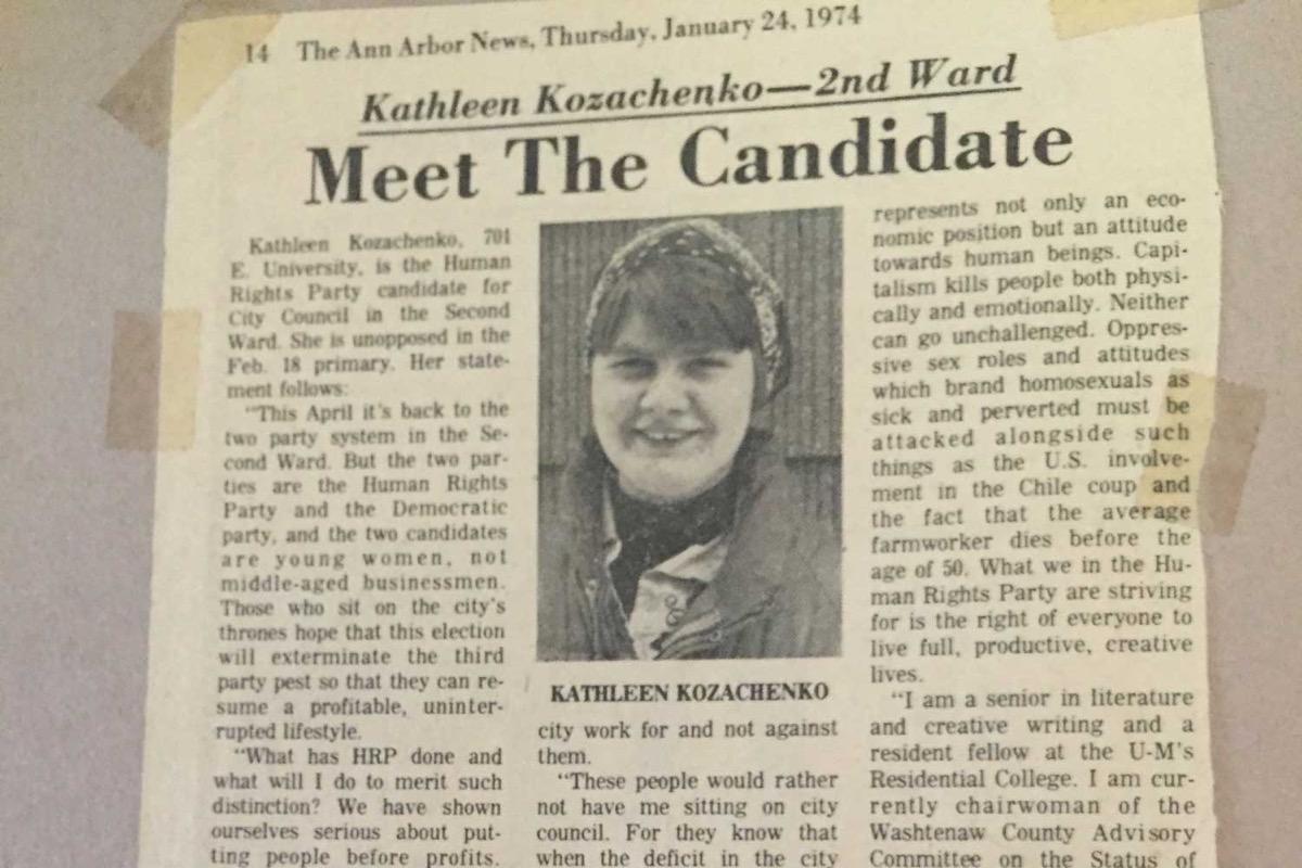 Kathy Kozachenko newspaper clipping