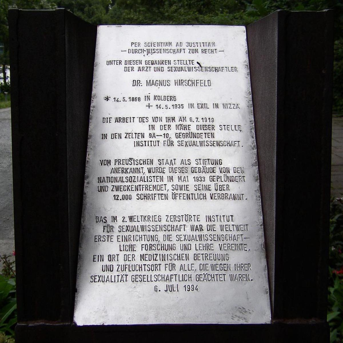 Magnus Hirschfeld plaque in Tiergarten
