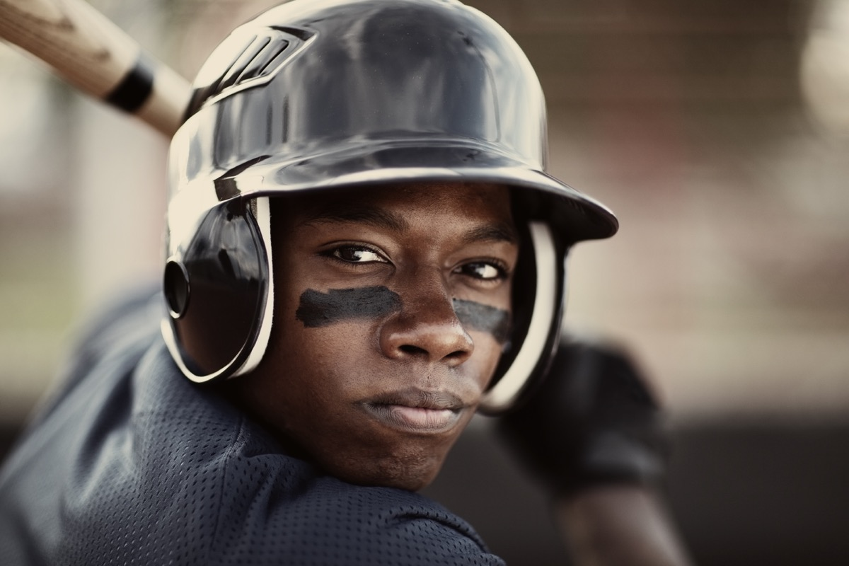 Close up of a player who is ready to mash the ball.