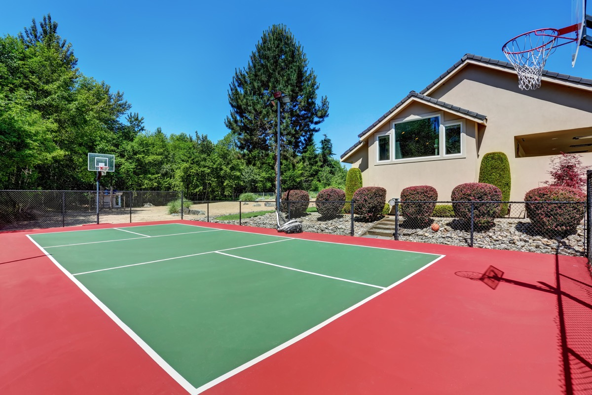 residential home basket ball court, downgrade upgrades worst home improvements