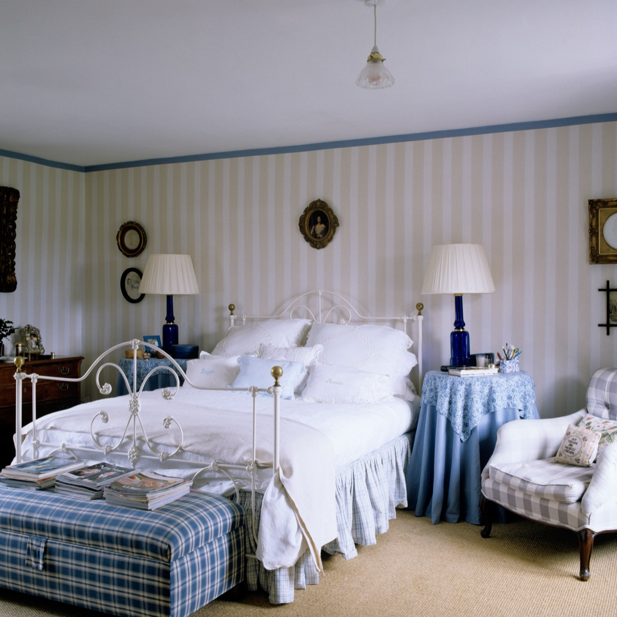 Country Bedroom with Bed Skirt 1990s Home Decor