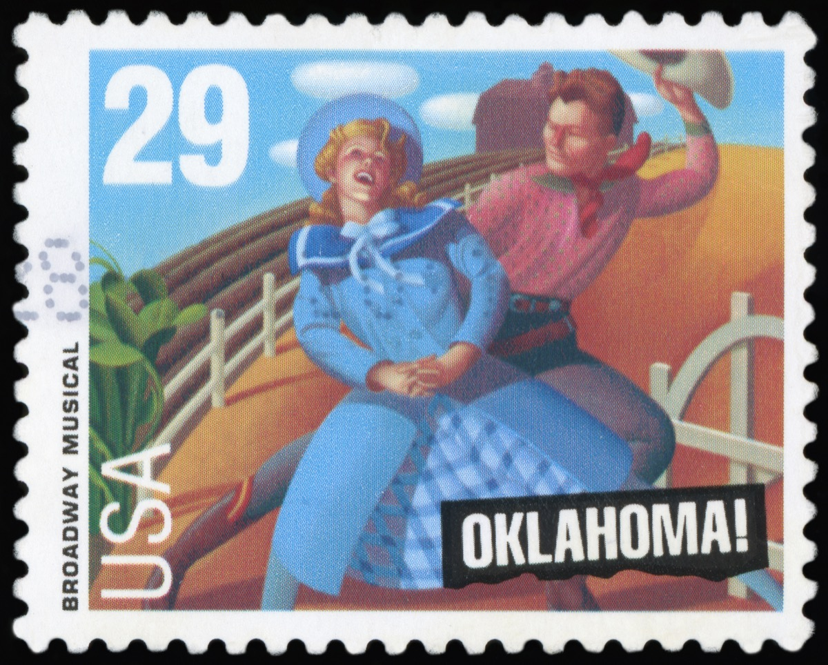 broadway oklahoma musical postage stamp