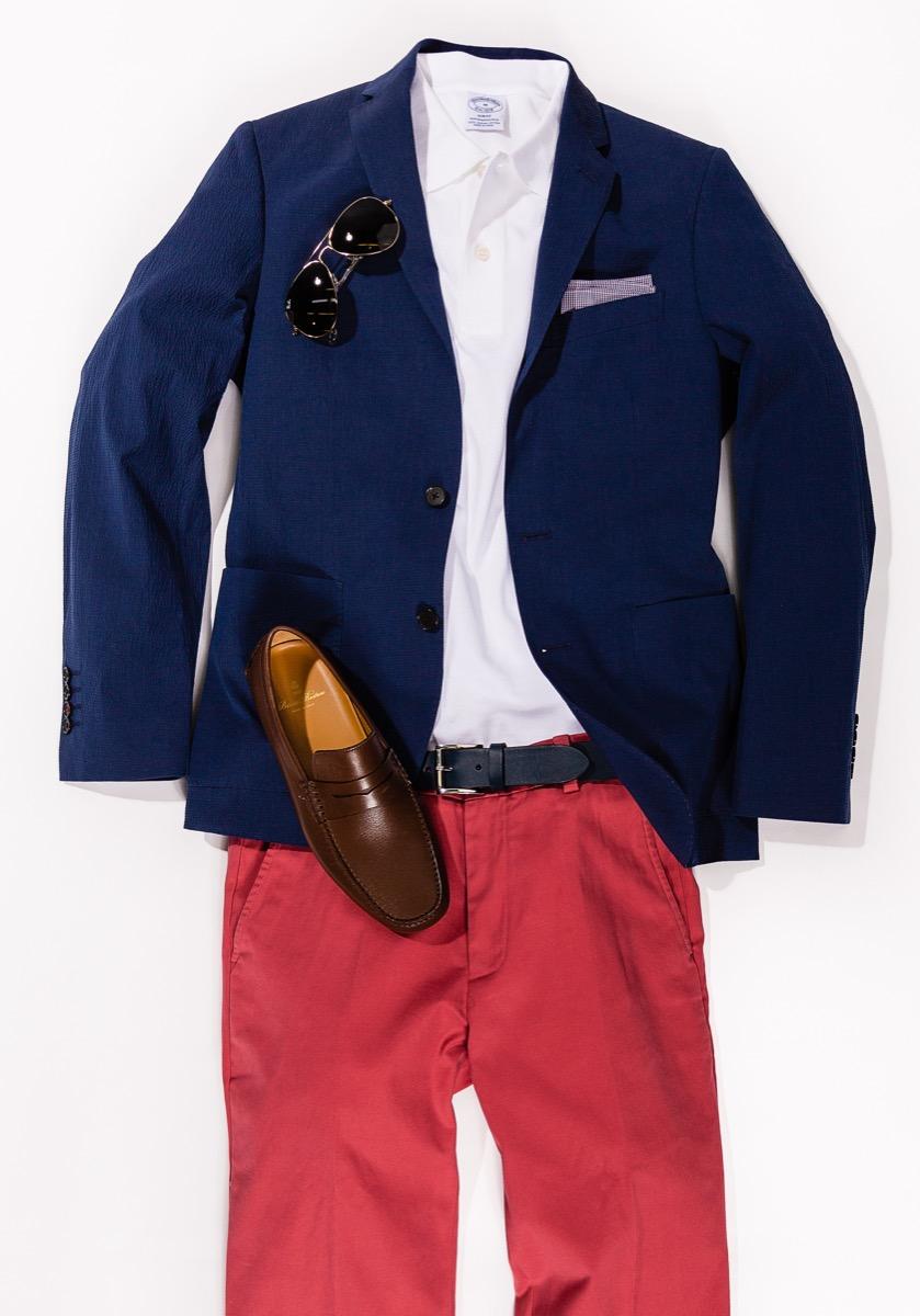 brooks brothers blue blazer red chinos and white shirt