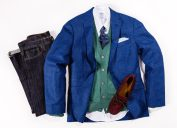 brooks brothers cardigan blazer oxford shirt and dark blue jeans